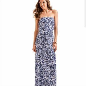 Vineyard Vines Blue Zebra Strapless Maxi Dress XXS